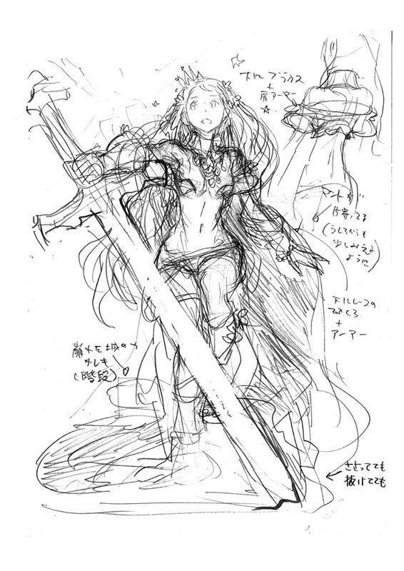 西村キヌ氏による設定ラフ画 【画像】キャラデザは西村キヌ、3DS新作『CODE OF PRINC