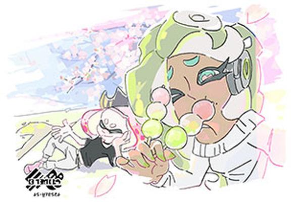 スプラトゥーン2どっちを選ぶ 花 Vs 団子のイメージイラストを