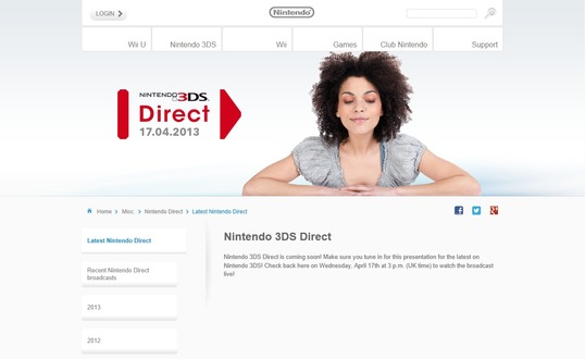 Nintendo 3DS Direct、欧州で4月17日実施