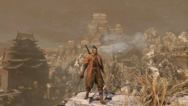 遠景に見えるのが葦名城の本城。その最上階に御子は囚われている。